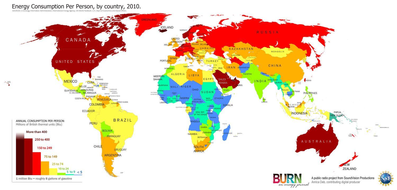 Energy Use Per Capita Of The World